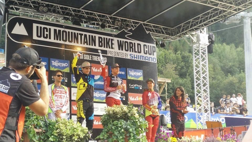 World Cup DH Val di Sole podium