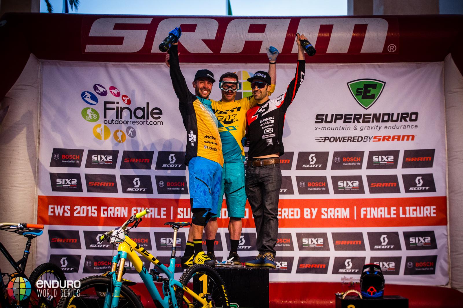 Mens podium. EWS round 8, Finale Ligure, Italy. Photo by Matt Wragg.