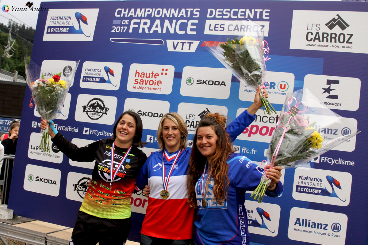 championnats france descente 2017 podium dames_photo yann audax