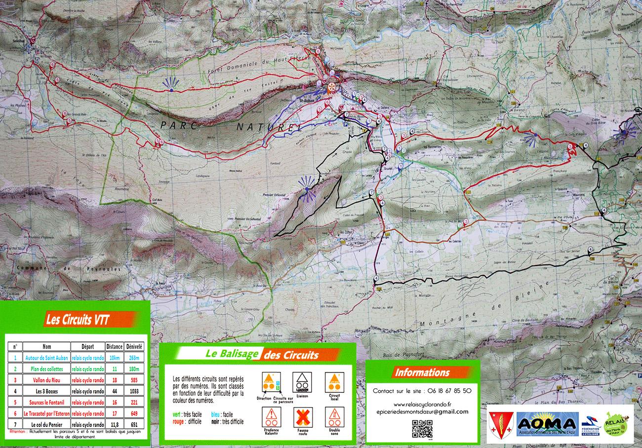 plan parcours site vtt parc monts azur st auban