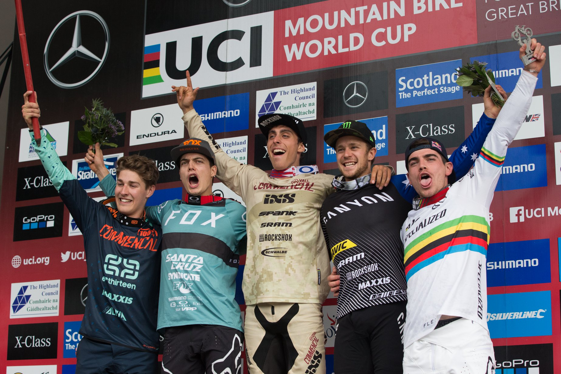 world cup dh 2018 fort-william podium Cerveny-UCI