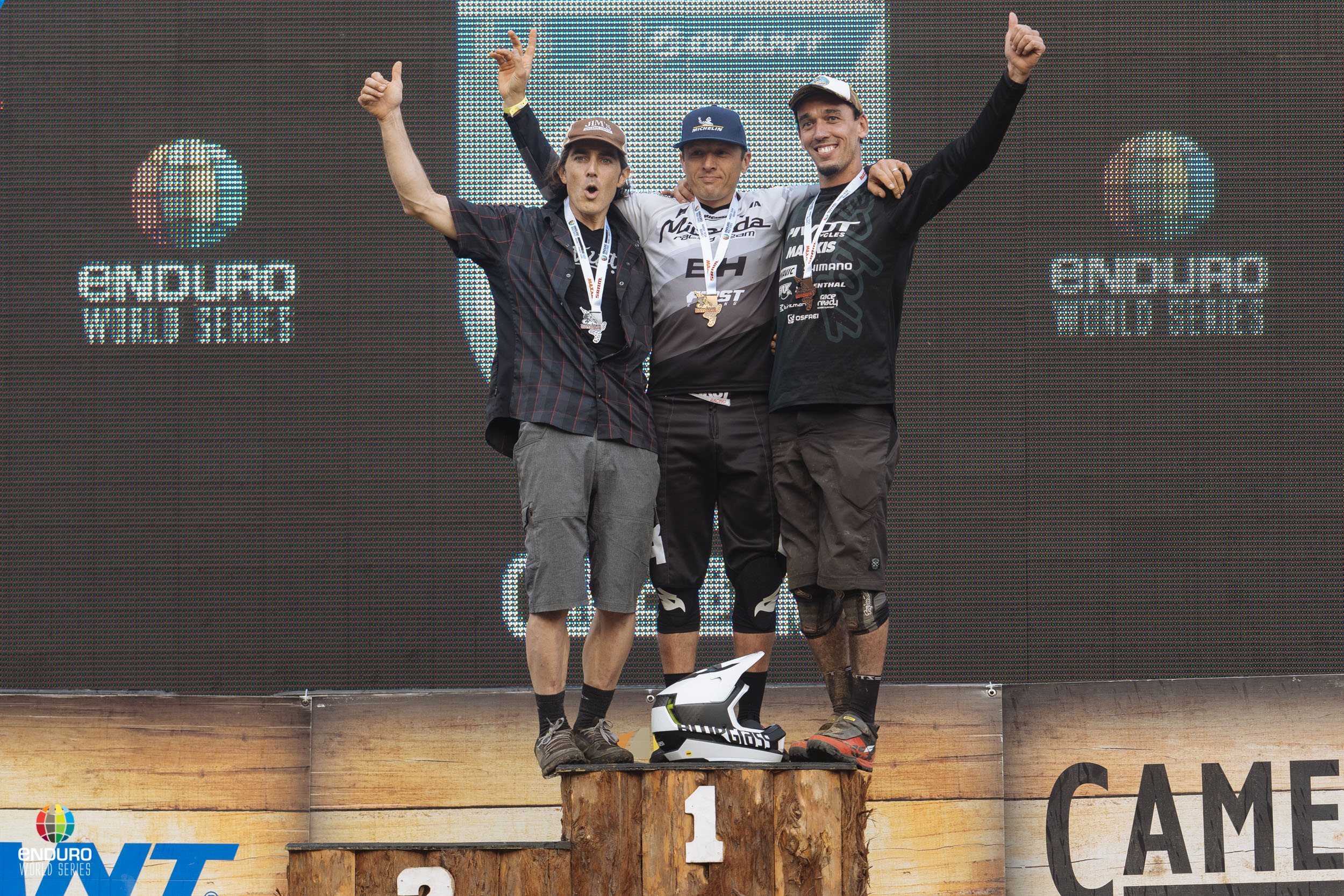 Men Master 40 podium. 1st Karim Amour, 2nd Michael Broderick, 3rd Javier Santiago