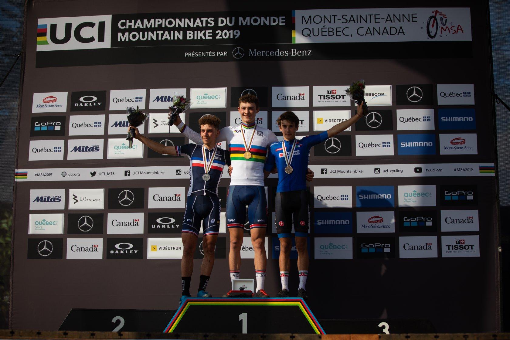 championnats monde uci xc juniors 2019 podium luca martin